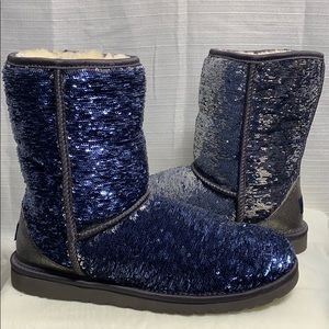 UGG Classic Short Boot Sequin Silver/Blue